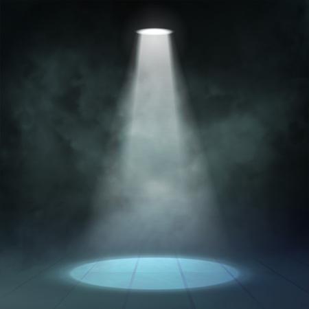 Floodlight spotlight illuminates wooden scene. Vector illustartion 向量圖像