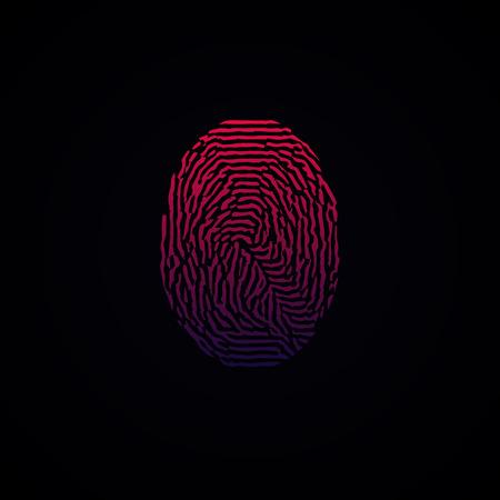 theft proof: Colorful Fingerprint Red Pink on dark background. Illustration