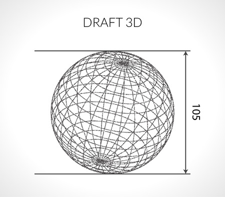 draft: Hand-drawn scribble Sphere. Draft architect concept. Elements for design. Vector illustration