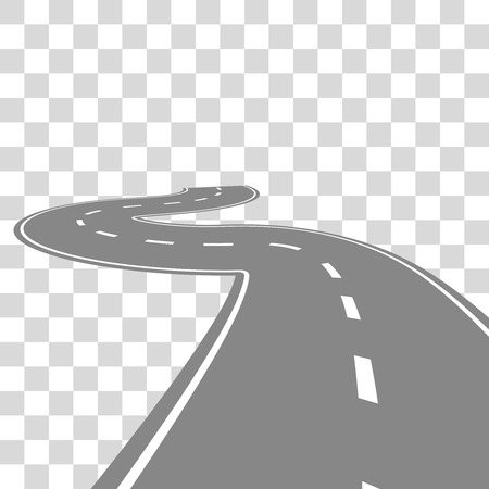 diminishing view: Curving winding road or highway with center cartoon illustration isolated on transparent.