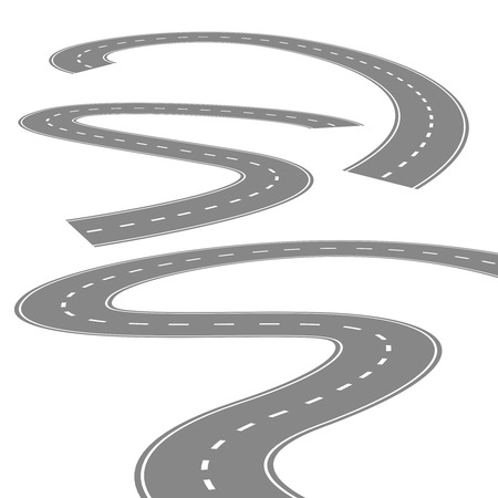 carriageway: Curving winding road or highway with center cartoon illustration isolated on white. Illustration