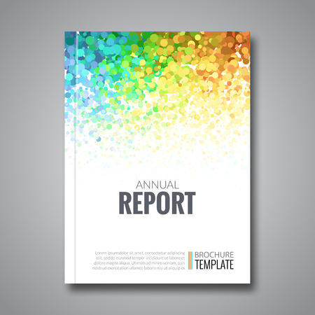 wave logo: Business Report Design Background with Colorful Dots, simulating Watercolor. Dotwork Brochure Cover Magazine Flyer Template, vector illustration. Illustration
