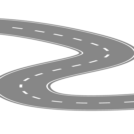 Curving winding road or highway with center cartoon illustration isolated on white. Illustration