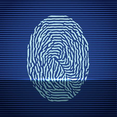 odcisk kciuka: Fingerprint identification scanning system. Finger print icon blue. Vector illustration.