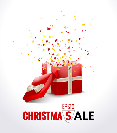 Opened Red Gift Box with ribbon and flying Confetti. Christmas SALE Background. Vector Illustration