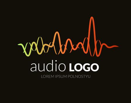 Logo onde sonore, musique de studio dj. Système audio. Brand, l'image de marque. Société identité ou logotype d'entreprise. Design épuré et moderne style.