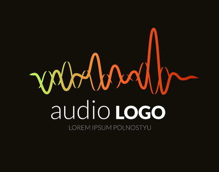 Logotipo de la onda de sonido, música de DJ del estudio. Sistema de audio. Marca, marcado en caliente. Compañía identidad corporativa o logotipo. diseño de estilo limpio y moderno.