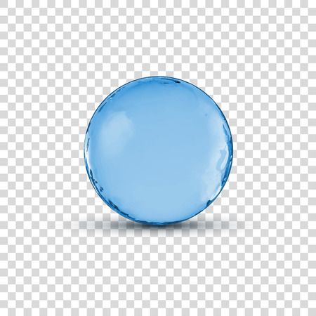 Vector 3D crystal glass blue sphere ball isolated on transparent illustration. Çizim