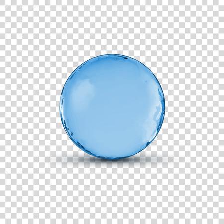 Vector 3D crystal glass blue sphere ball isolated on transparent illustration. Stock Illustratie