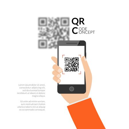 QR code scannen met een mobiele telefoon. Leg QR code op de mobiele telefoon. Symbool scannen QR code. Concept erkenning QR code. Vector Illustratie