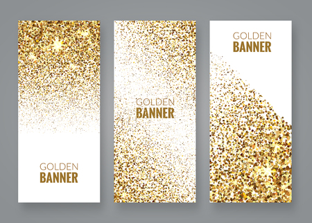 Gold sparkles on white backround, Golden banners. Gold text. Gift, luxury card privilege shopping, sale. Ilustração