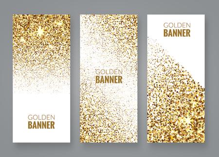 Złoto błyszczy na białym backround, złote sztandary. Złoty tekst. Prezent, luksusowe karty uprzywilejowane zakupy, sprzedaż.