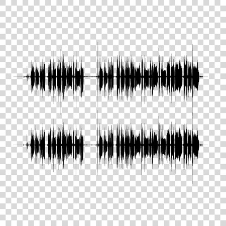 Vector sound waves set on transparent. Audio equalizer technology, music pulse. Vector illustration. Vettoriali
