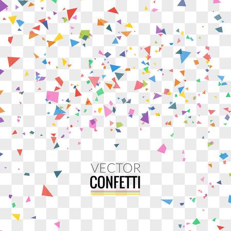 Confetes coloridos no fundo quadrado transparente. Natal, aniversário, conceito de festa de aniversário. Ilustração vetorial.
