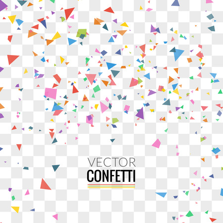 Colorful Confetti on Transparent square Background. Christmas, Birthday, Anniversary Party Concept. Vector Illustration. Vettoriali