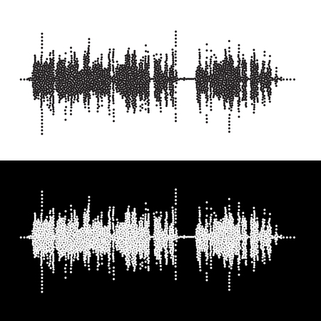 vibrations: Halftone dot square vector elements.Vector sound waves. Music round waveform background. You can use in club, radio, pub, party, concerts, recitals or the audio technology advertising background.