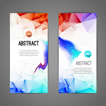 web commerce: Set of polygonal and triangular waves geometric banners for modern design. Web, commerce, events.