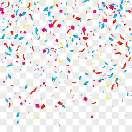 Confetti vector background over transparent grid for holidays, party, events, vector illustartion. Vettoriali