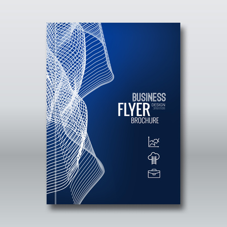 Abstract vector brochure flyer book cover design template layout mockup with light waves on dark blue. Vektorové ilustrace