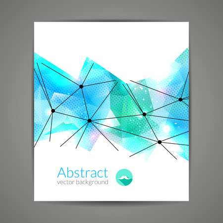 Abstract triangular 3D geometric colorful light blue background cover report brochure template Vector Illustration