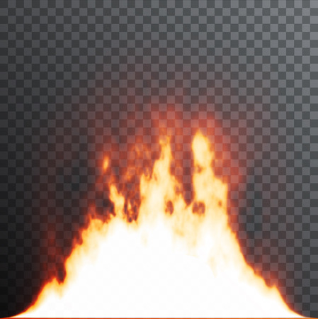special effects: Realistic fire flames on transparent background. Special effects. Vector illustration. Translucent elements. Transparency grid. Illustration
