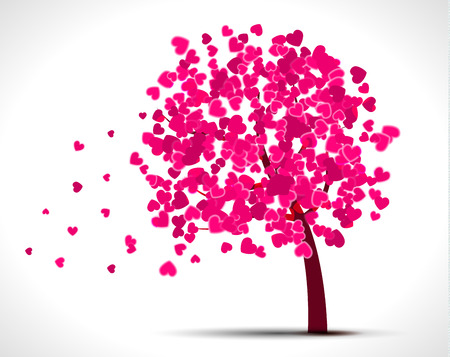 Valentine tree with pink hearts for your design.