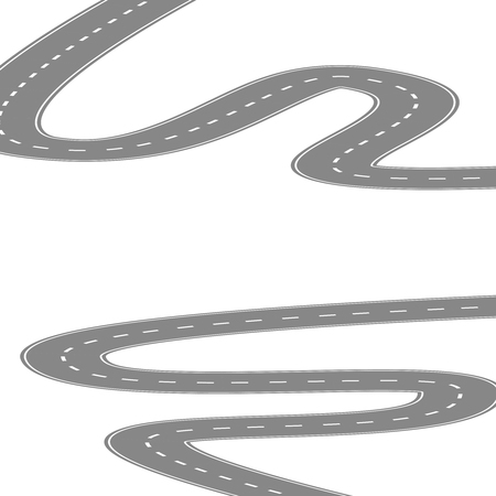 diminishing view: Curving winding road or highway with center cartoon illustration isolated on white. Illustration