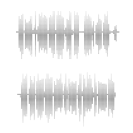 vibrations: Halftone square vector elements.Vector sound waves. Music round waveform background. You can use in club, radio, pub, party, concerts, recitals or the audio technology advertising background.