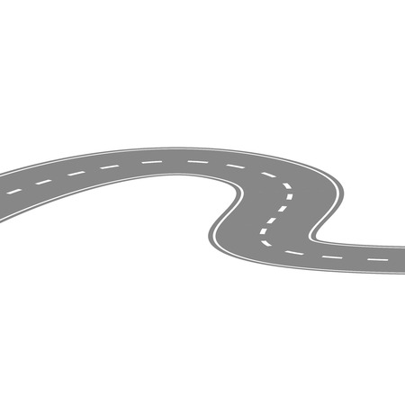 curving: Curving winding road or highway with center cartoon illustration isolated on white. Illustration