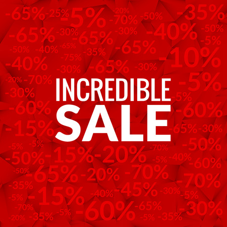 incredible: Big incredible sale background with percents pattern on red. Illustration