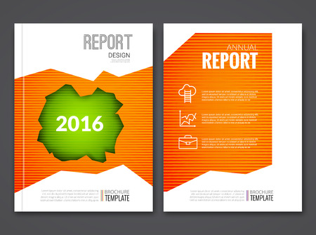 sample environment: Cover Report Business Orange Green Hole Geometric pattern Design Background, Magazine Cover, Brochure Book Cover Template with icons and infographics, vector illustration.