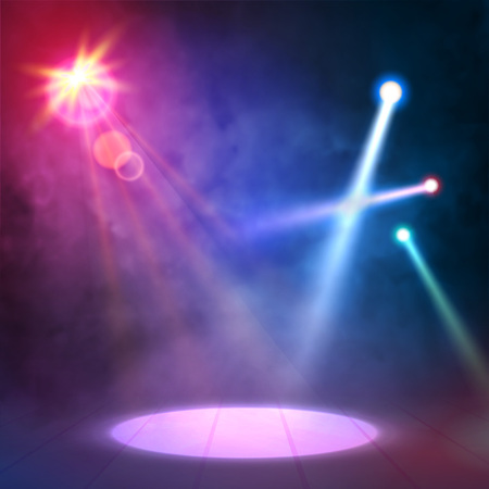 night club interior: Blue Lilac Great Premiere Show Background. Smoky vector stage shining with spotlights rays.