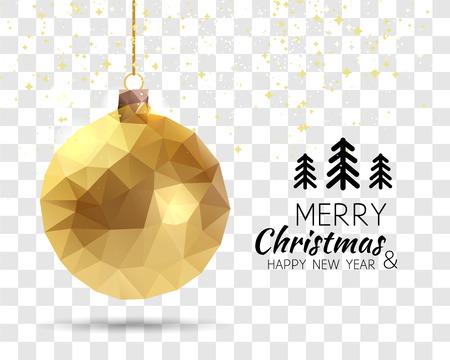 Frohe Weihnachten glückliches neues Jahr Trendy Dreiecks Gold-Weihnachtskugel Form in Hipster Origami-Stil auf transparentem Hintergrund. Ideal für Weihnachtskarte oder Elegante Feiertags-Party Einladung.