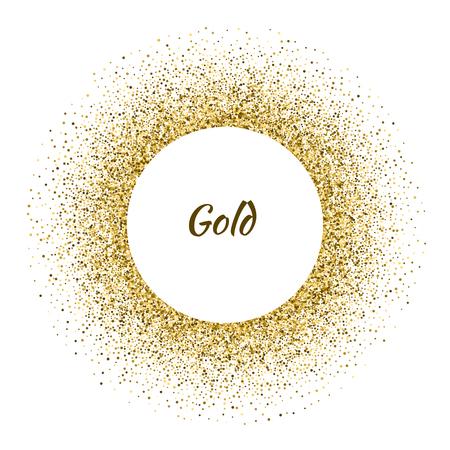 elegant template: Vector white circle frame on the gold glitter background. Vector illustration.