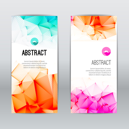 web commerce: Set of light polygonal and triangular geometric banners for modern design. Web, commerce, events Stock Photo