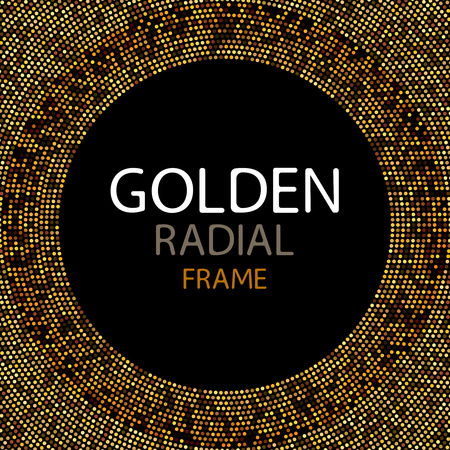 spangles: Vector gold disco lights frame or spangles round frame with empty center for text. Gold circle made of tiny uneven dots abstract background. Golden blobs textured round frame on black backdrop