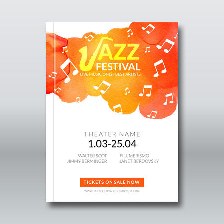 Jazz music vector poster templates set. Hand drawn Watercolor stain background. Abstract background for card, brochure, banner, web design, poster background template