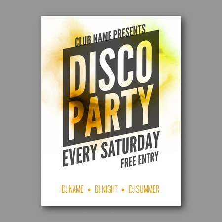 session: Disco Party Poster Template. Night Dance Party flyer. DJ session. Club party design template on dark colorful background. Dance party watercolor background Illustration