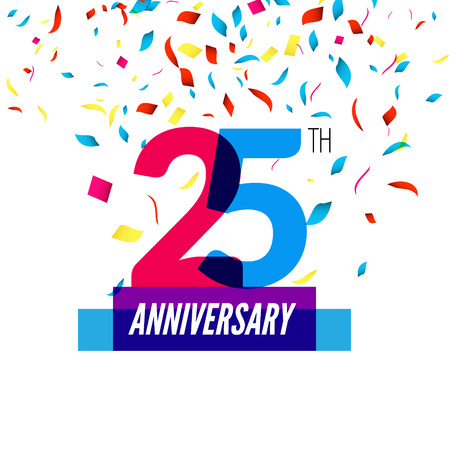 25th: Anniversary design. 25th icon anniversary. Colorful overlapping design with colorful confetti. Illustration