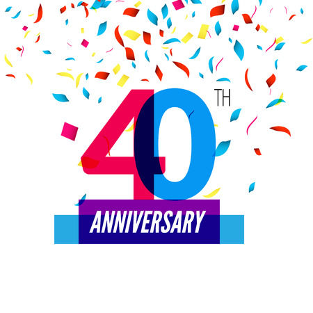 40th: Anniversary design. 40th icon anniversary. Colorful overlapping design with colorful confetti.