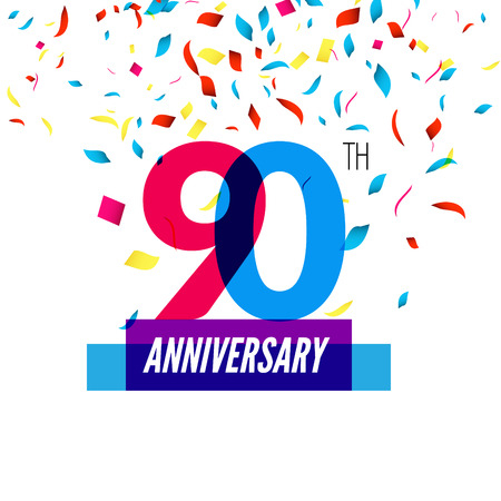 90th: Anniversary design. 90th icon anniversary. Colorful overlapping design with colorful confetti.