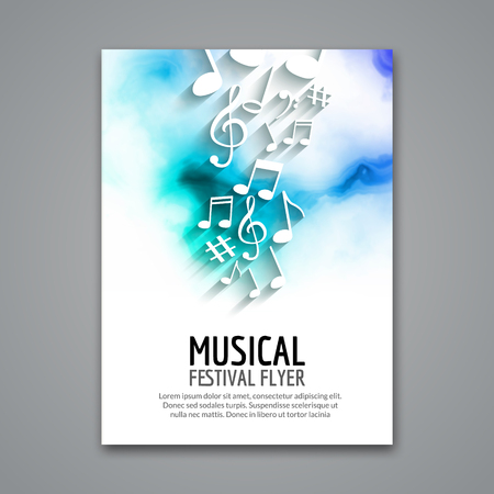 Colorful vector music festival concert template flyer. Musical flyer design poster with notes. Иллюстрация
