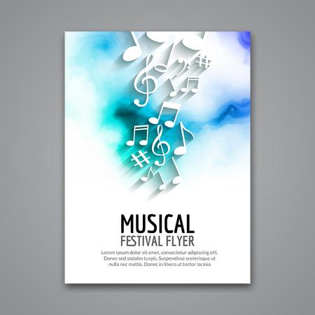 vector de la música volante Plantilla de colorido concierto del festival. aviador musical cartel del diseño con las notas.