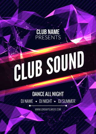 Modern Club Music Party Template, Dance Party Flyer, brochure. Night Party Club sound Banner Poster Vector Illustration