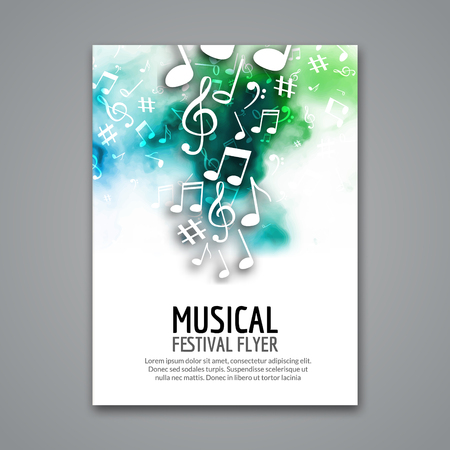 Colorful vector music festival concert template flyer. Musical flyer design poster with notes. Vettoriali