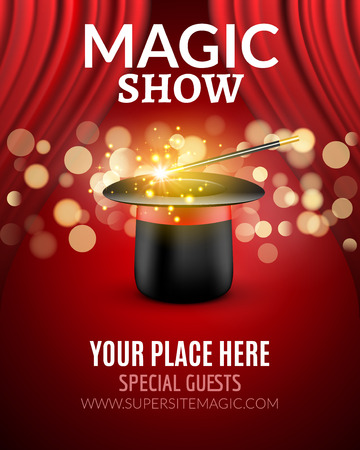 red stage curtain: Magic Show poster design template. Magic show flyer design with magic hat and curtains.