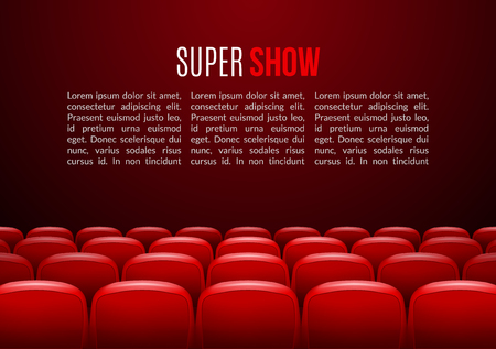 red theater curtain: Movie theater with row of red seats. Premiere event template. Super Show design. Presentation concept with place for text.