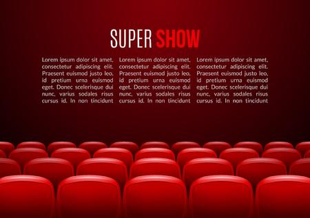 telon de teatro: sala de cine con la fila de asientos de color rojo. plantilla de eventos estreno. Ver el diseño súper. Concepto de presentación con lugar para el texto.