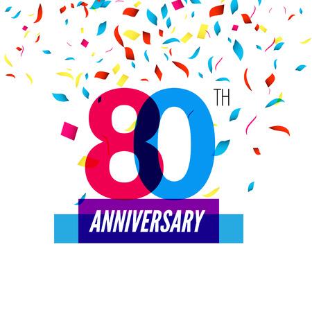 80th: Anniversary design. 80th icon anniversary. Colorful overlapping design with colorful confetti.