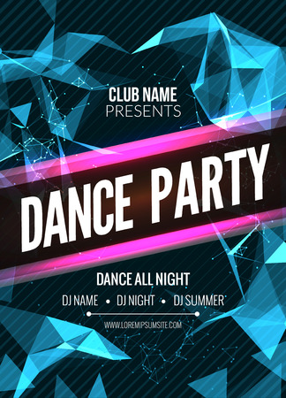 Modern Club Music Party Template, Dance Party Flyer, brochure. Night Party Club sound Banner Poster Vettoriali